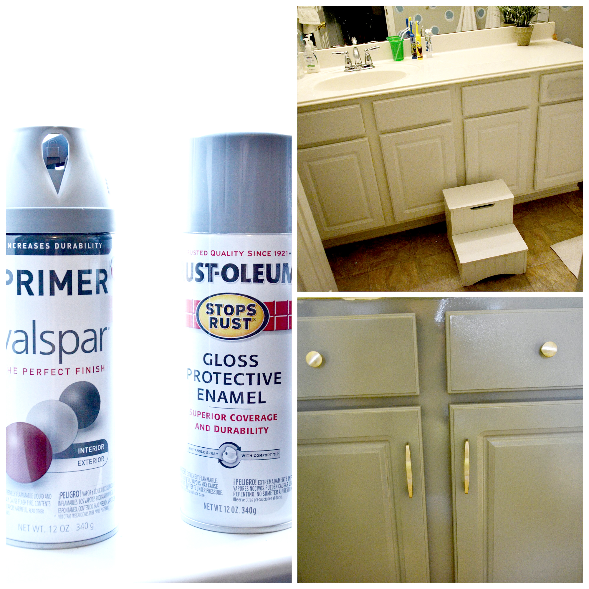 How to spray paint cabinets bathroom makeover for Spray painting kitchen cabinets