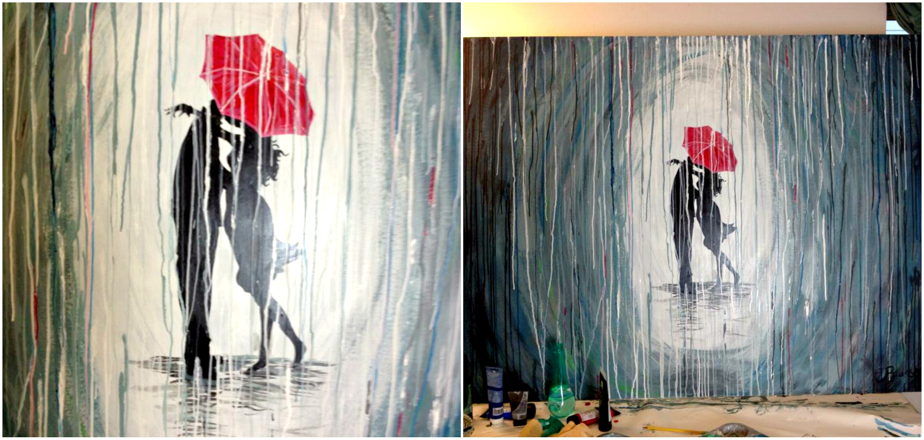 How to paint a rainy day scene with acrylics easy wall art Simple wall art